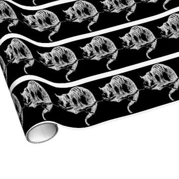 Cheshire Cat Black Wrapping Paper