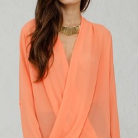 ANGL | Roll Up Sleeve Drapey Crossover Blouse