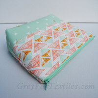 Triangle mint and coral geometric cosmetic case, green, coral, mustard yellow, makeup bag, pencil case, zipper pouch, clutch, jewelry bag,