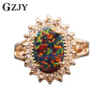GZJY 2017 New arrival Beautiful Oval Flower Champagne Gold Color Fire Opal Ring For Women Wedding Gift