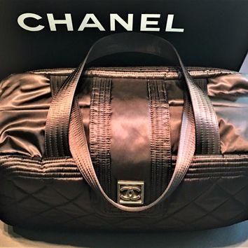 Chanel Nylon Quilted Black Travel Duffel Gym Bag Tote $1,590 MSRP NEW Zip Sport