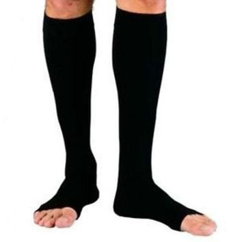 Women Men Zipper Compression Zip Leg Support Knee Stockings Sox Open Toe S/M//L/XL