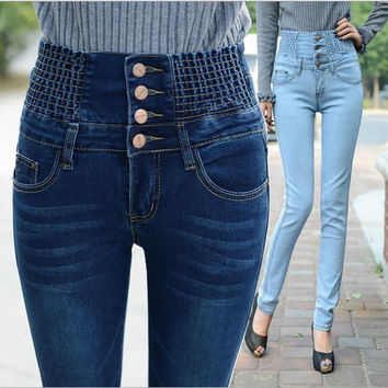 Tight Female Jeans Trousers For Plus Sized Women High Waist Jeans Female Skinny Pencil Pants Slim Fit Elastic Waist Button Jens