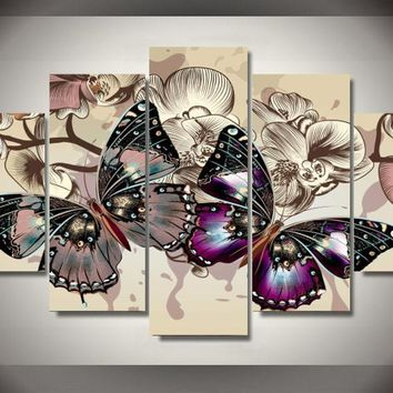 Butterflies In Motion 5-Piece Wall Art Canvas