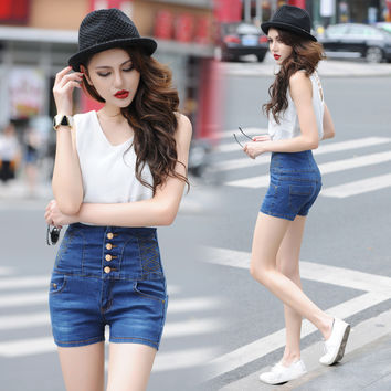 High Waist Shorts Summer Extra Large Jeans [11405224591]