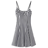 Stripe Print Backless Stappy A-Line Mini Dress