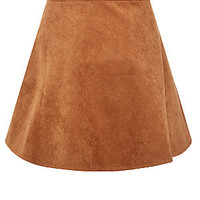 Teens Light Brown Suedette Skater Skirt