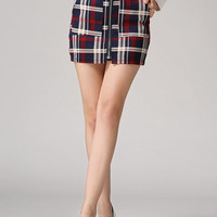 Red Plaid High Waisted Mini Skirt with Pocket