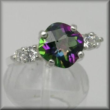 Unique Engagement Ring Mystic Topaz Ring Mystic Green Checker-top Cushion 2ct In Accented Ring mystic fire jewelry Sizes 5-16