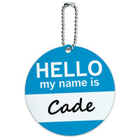Cade Hello My Name Is Round ID Card Luggage Tag