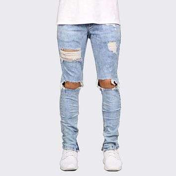 Distressed Ankle Zipper Skinny biker Jeans