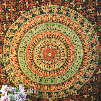 Twin Barmeri Flowers Elephants Camels Printed Indian Mandala Hippie Tapestry Cotton Bedspread Hippie Bohemian Throw Bedcover Home Decor