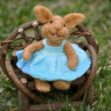 Needle Felted wool BUNNY RABBIT wearing a blue by BearCreekDesign