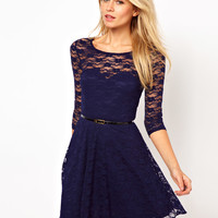 ASOS   ASOS Skater Dress In Lace with 3/4 Sleeves And Belt at ASOS