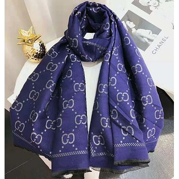 GUCCI Popular Women Men Simple GG Letter Cashmere Cape Scarf Scarves Shawl Accessories Blue