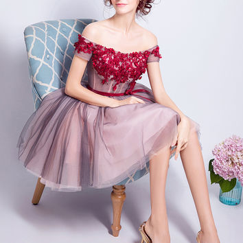 Pink Off Shoulder Floral Applique Bow Wasit Skater Prom Dress