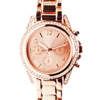 Rhinestone Outlined Metal Watch | Wet Seal