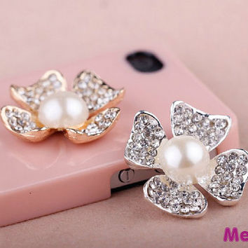 1 Piece Luxury Bling Crystal Alloy 3D Pearl Flower Kawaii Accessories Charm Cabochon Deco Den on Craft Phone Case DIY Deco kit AA1180