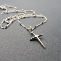 CLEARANCE - Sterling Silver Thin Cross Pendant with Sterling Silver Beaded Chain - SALE