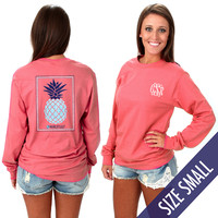 Monogrammed Seersucker Pineapple Long Sleeve T-Shirt