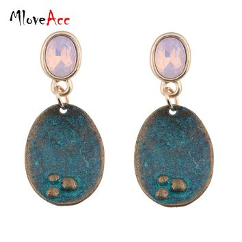 MloveAcc Vintage Hanging Drop Dangle Earrings for Women Crystal Opal Antique Geometric Pendant Ear Brand Fashion Jewelry