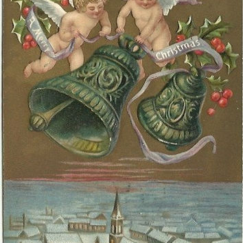 "Antique Undivided Back UDB Postcard ""A Merry Christmas"" Angels Cherubs with Christmas Bells over Church & Town Scene 1906"