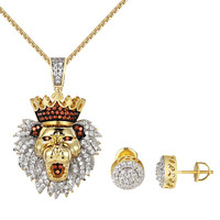 "King Lion Iced Out Pendant Earrings Combo Set 14k Gold Finish Free 24"" Chain Men"