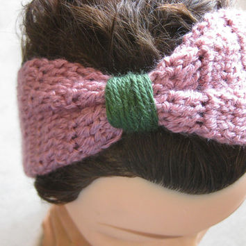 Scrunch Bow Headband - Pink and Green - Women's Headband