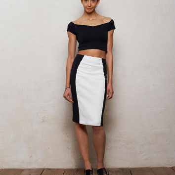 Mix n Match Coco Crop Top and Pencil Skirt Set in Monochrome