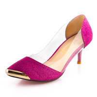 Summer Women Shoes High Heels Metal Head Pointed Sexy Women Pumps party Wedding shoes For Women US Size4-11