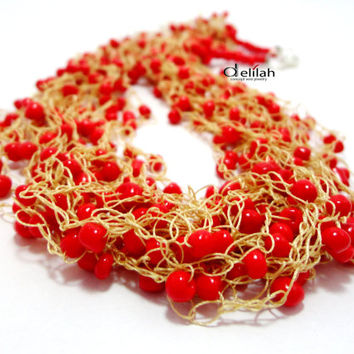 Beige and Red Crochet Necklace, Red Beads Necklace, Crochet Necklace, Crochet Silk Necklace, Multistrand Necklace