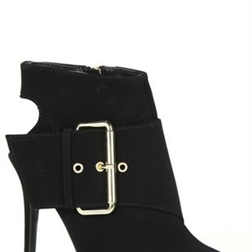 Peep Toe Single Sole Bootie with Open Back and Large Side Buckle