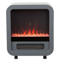 Modern Silver 1,500 Watt Electric Stove Fireplace Space Heater