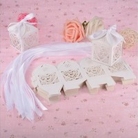 Sweet Love Cute Ribbon Wedding Favor Candy Boxes Gift Box for Wedding New 50 PCs Z_G (Color: Silver) [7981682695]