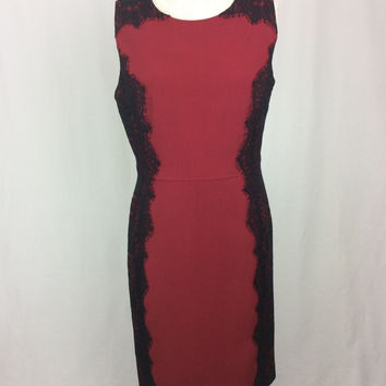 CHETTA B red dress with black lace size 10