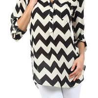 Chevron Print Partial Button Tunic : Black