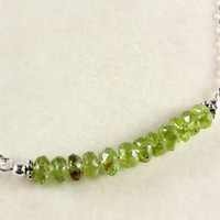 Peridot Bar Necklace, Sterling Silver, August Birthstone, Minimalist