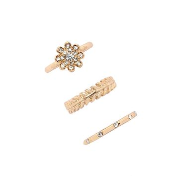 Rhinestone Flower Ring Set