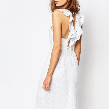 Lost Ink Ruffle Dress With Lace Up Back Detail