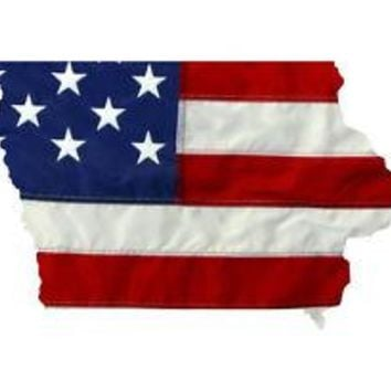 State of Iowa Realistic American Flag Window Decal - Various Sizes