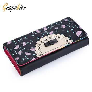 Guapabien Colorful Bowknot Floral Hasp Vertical Long Clutch Wallet PU Leather Multi-functional Women Long Purse portefeuille