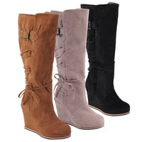 Hailey Jeans Co. Women's 'Bree' Round Toe Lace-up Detail Wedge Boots | Overstock.com