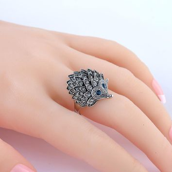 Vintage Punk Ring Unique Carved Antique Silver Hedgehog Lucky Rings for Women Boho Beach European Wedding Party Birthday Jewelry