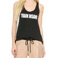 Black Racer Back Train Insane Loose Tank Top