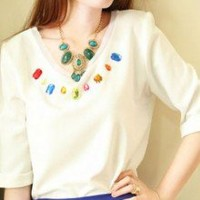 Dazzling Colorful Rhinestones V Neckline  Half Sleeves Blouse Top 2 Colors