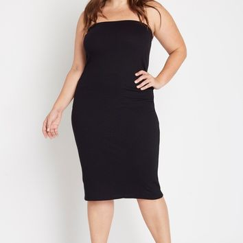 Fit to Flatter Strapless Ribbed Dress Plus Size