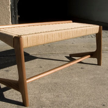 Rian Cantilever Bench, Mid-Century Modern Design with Original Danish Weave seat deck