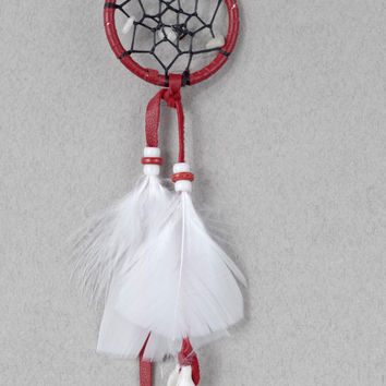 Rear View Mirror Dreamcatcher, Mini Dreamcatcher, Car Accessories, Native America Dreamcatcher, Red Dream Catcher