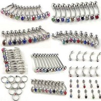 Imixlot® 10Styles 100pcs Stainless Steel Belly Tongue Eyebrow Lip Ear Nose Barbell Piercing Jewelry