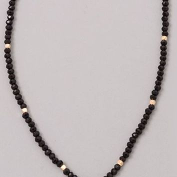Black Beaded Choker Necklace with CZ Disc